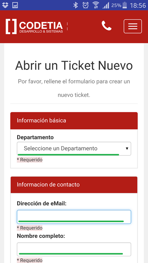 Abrir ticket - Sistema de Tickets Codetia